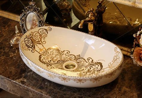 bathroom superior ceramic counter top sink oval wash basin porcelain hand painted cloakroom art