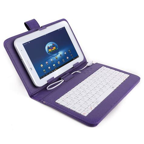 Leather Keyboar Tab 7 Micro gtfs color purple cover faux leather micro usb keyboard