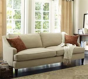 Landon upholstered sofa pottery barn for Small sectional sofa pottery barn
