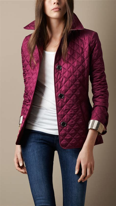 burberry quilted jacket burberry cinched waist quilted jacket in purple lyst
