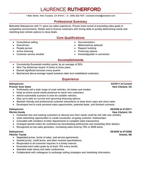 Salesperson Resume Sle by Best Retail Salesperson Resume Exle Livecareer