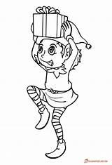 Elf Coloring Christmas Pages Printable Drawing Line Elves Sheets Present Sheet Xmas Printables Fantasy Gift Getcolorings Paintingvalley Getdrawings Brings Rocks sketch template