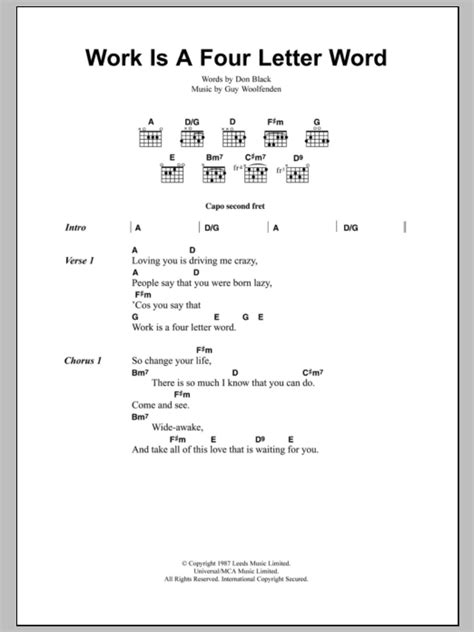 4 page letter lyrics work is a four letter word by the smiths guitar chords 50114