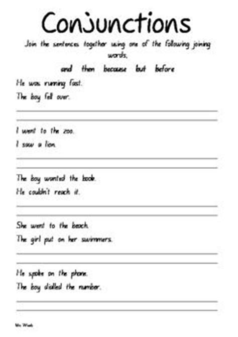 conjunction worksheets sentences and worksheets