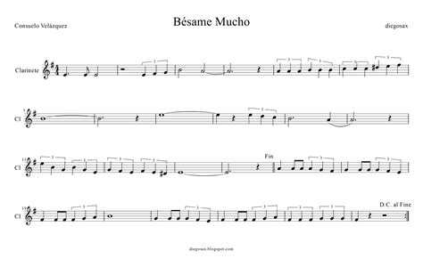 besame mucho übersetzung tubescore sheet for b 233 same mucho for clarinet by