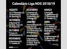 Benfica calendário 2018 2019 Serbenfiquistacom