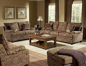 Rich floral chenille traditional living room sofa for Traditional living room sofa