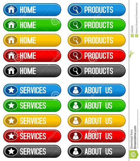 Home Products Services Buttons Stock Vector  Image 29988598