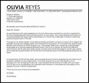 Benefits Administrator Cover Letter Benefits Administrator Cover Letter Sample Livecareer