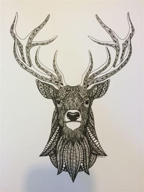 zentangle deer art print  tangleddownsouth  etsy