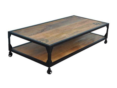 avis canapé conforama table basse en bois de manguier et fer avec 4 roulettes lilian