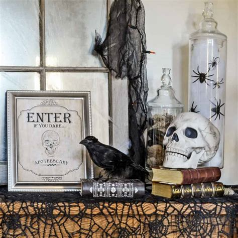 vintage inspired spooky halloween foyer decor inspiration