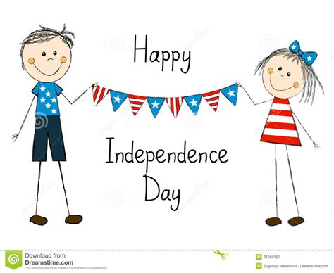 independence day card  children royalty  stock