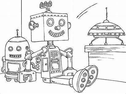 Coloring Future Pages Robots Robot Printable Getcolorings