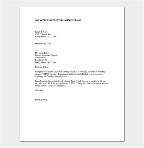 accept job offer acceptance letter email sample