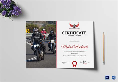 road bike riding recognition certificate design