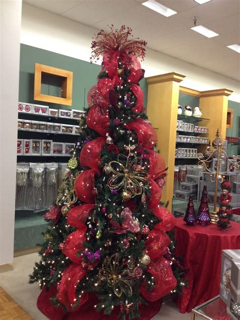 Garden Themed Christmas Tree Red, Purple And Gold With