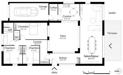 plan de maison plain pied 4 chambres avec garage plan maison de plain pied avec patio ooreka