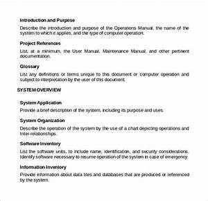 sample operations manual 8 documents in pdf word With operation manual template word