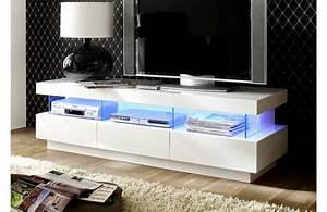 Meuble Tv Blanc Laqué : meuble tv haut blanc laque ~ Teatrodelosmanantiales.com Idées de Décoration