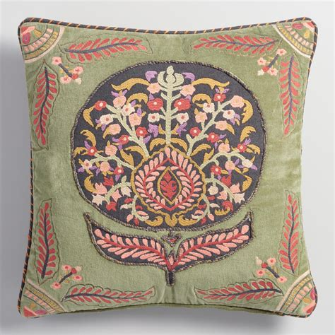 world market pillows embroidered flower velvet throw pillow world market