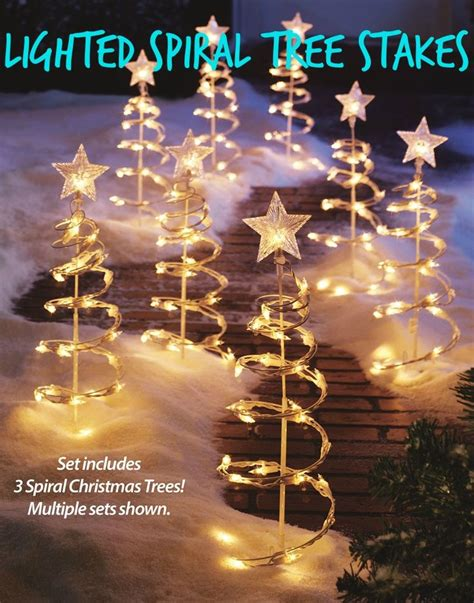 christmas outdoor decorations lighted spiral tree stakes