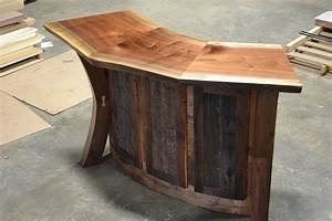 Hand Crafted Live Edge Walnut And Reclaimed Curved Bar
