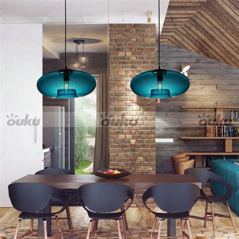 60w modern glass pendant light in blue design