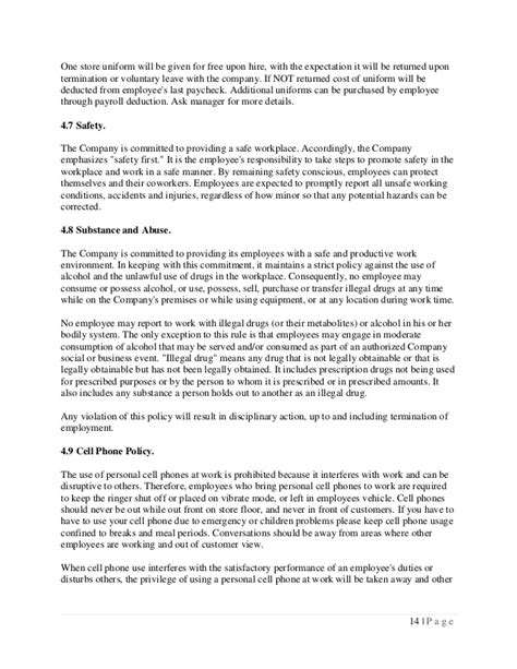 Company Theft Policy Template by Employee Handbook