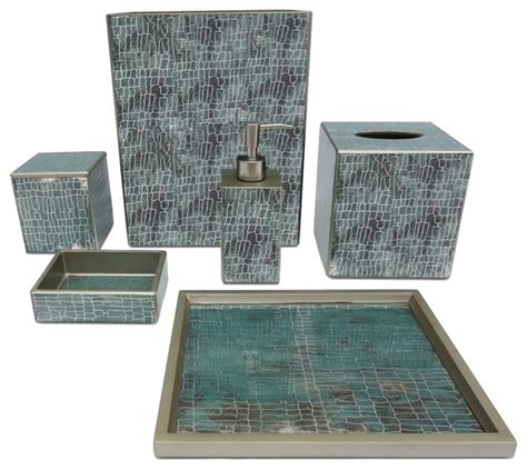 Aqua Crackle Glass Bathroom Accessories by Waylande Gregory Aqua Crackle Bathroom Set Bathroom