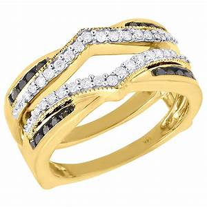 black diamond enhancer wrap solitaire engagement ring 14k With wedding ring enhancers yellow gold