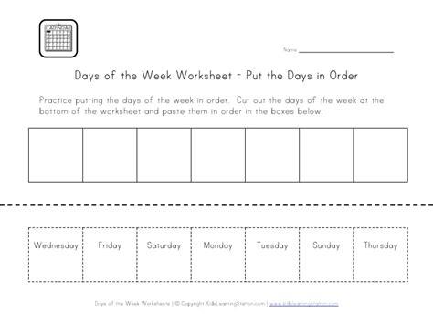 days   week worksheets