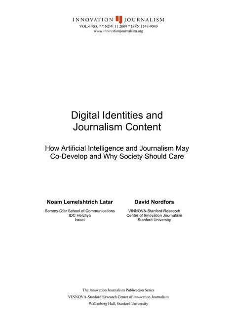 (PDF) Digital Identities And Journalism Content - How