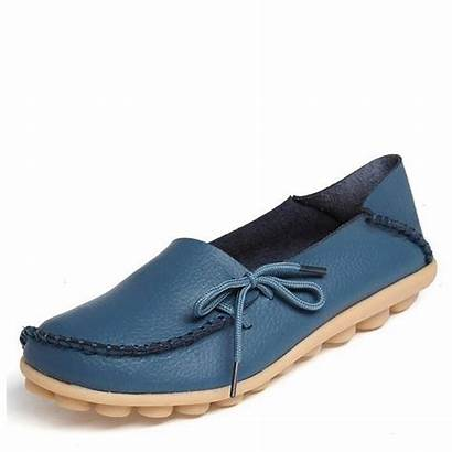 Leather Moccasins Loafers Casual Soft Flats Lace