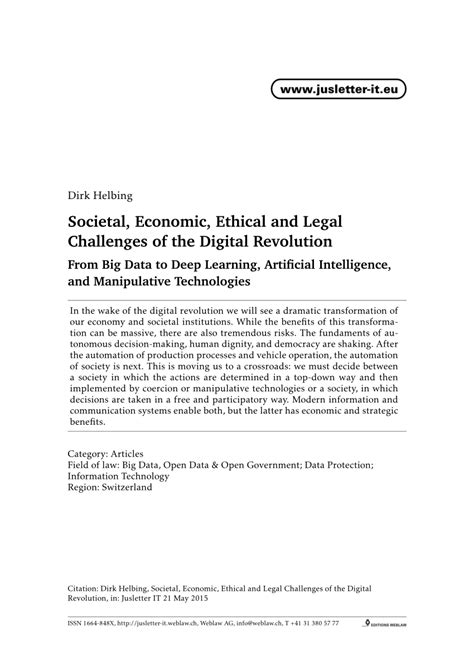 (PDF) Societal, Economic, Ethical and Legal Challenges of