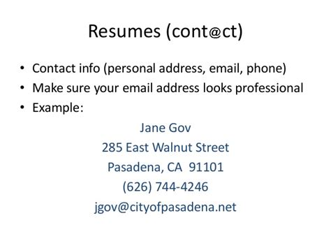 Professional Email Address For Resume by Resume Workshop Pasadena Library
