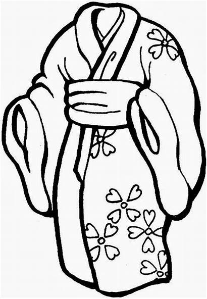 Kimono Coloring Pages Printable Oriental Adults Getdrawings