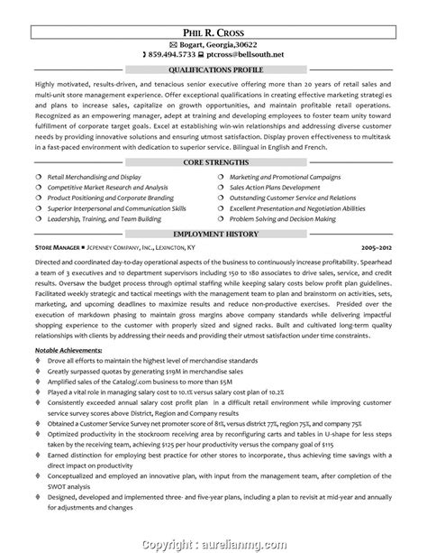 Retail Sales Manager Resume Exles by New Retail Sales Manager Resume Sles Regional Sales