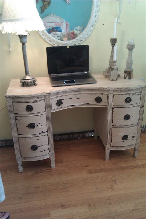 white shabby chic desk vintage desk vanity shabby distressed chic office computer