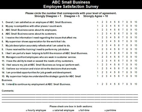 employee survey employee satisfaction survey exle the thriving small business