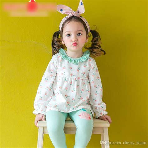 Fashion Korean Girls Homewear Sets Peach Apple Printed