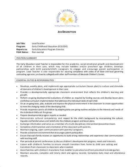 job description for a preschool teacher 12 descriptions free sample example 253