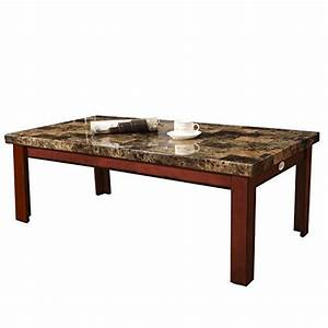 Joveco walnut color wood faux marble finish rectangular for Marble and walnut coffee table