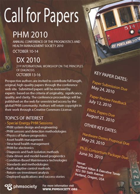 call  papers phm society