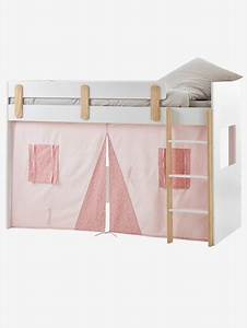 Lit Mezzanine Mi Hauteur : rideau cabane pour lit mezzanine mi hauteur everest rose ~ Melissatoandfro.com Idées de Décoration