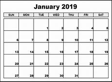 Download Printable January 2019 Calendar A4 Free