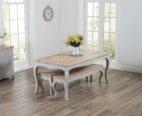 shabby chic dining table with bench parisian 175cm grey shabby chic dining table with benches the great furniture trading company