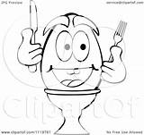 Egg Silverware Boiled Happy Clipart Cartoon Outlined Holding Royalty Coloring Andrei Marincas Vector Pages Template sketch template
