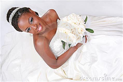 beautiful african american bride portrait stock