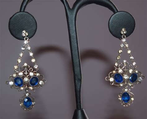 Grand French Sterling Paste Chandelier Earrings From